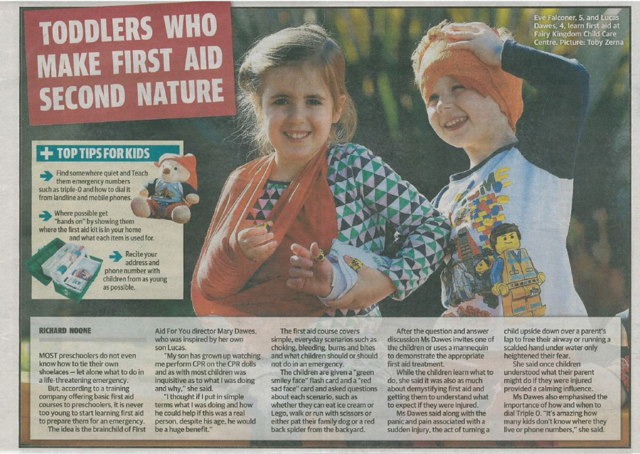 Newspaper article: Toddlers who make first aid second nature - Daily Telegraph article, August 2014