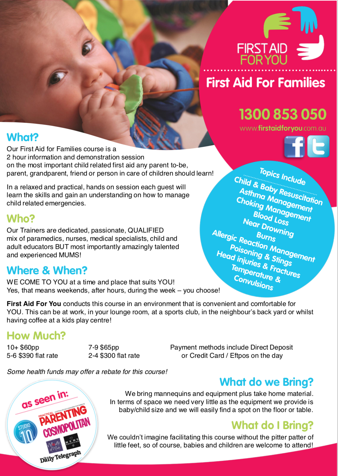 Image of First Aid For Families Fact Sheet by First Aid For You