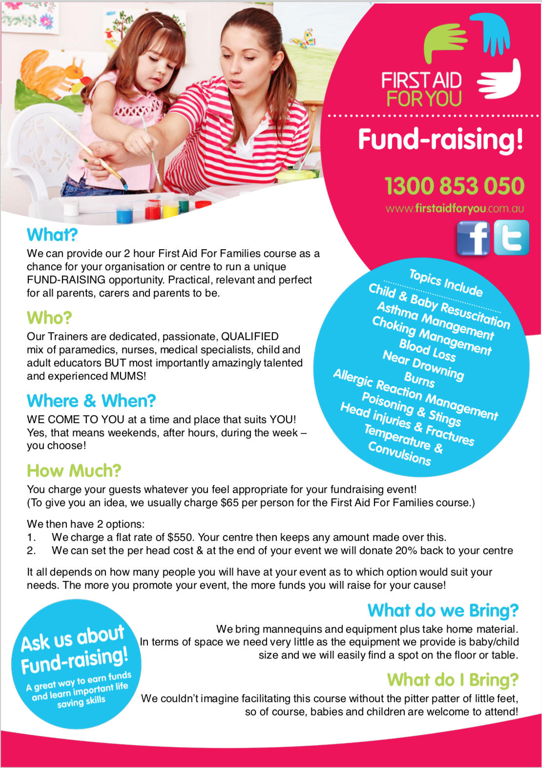 Image of the First Aid For You Fundraising Fact Sheet