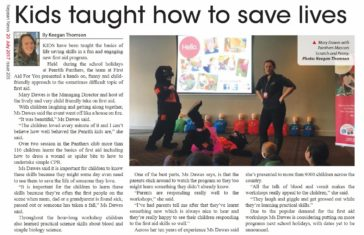 Kids taught how to save lives - article in Nepean News