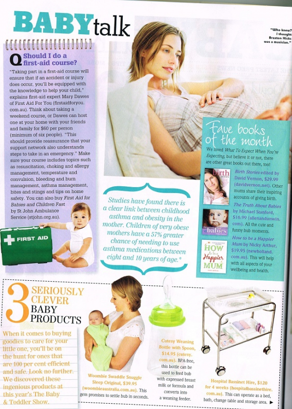 Cosmo magazine page on Baby Talk - Summer 2012