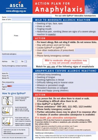 Action Plan for Anaphylaxis by Australasian Society of Clinical Immunology and Allergy