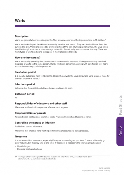 Warts information fact sheet by The Royal Children's Hospital Melbourne