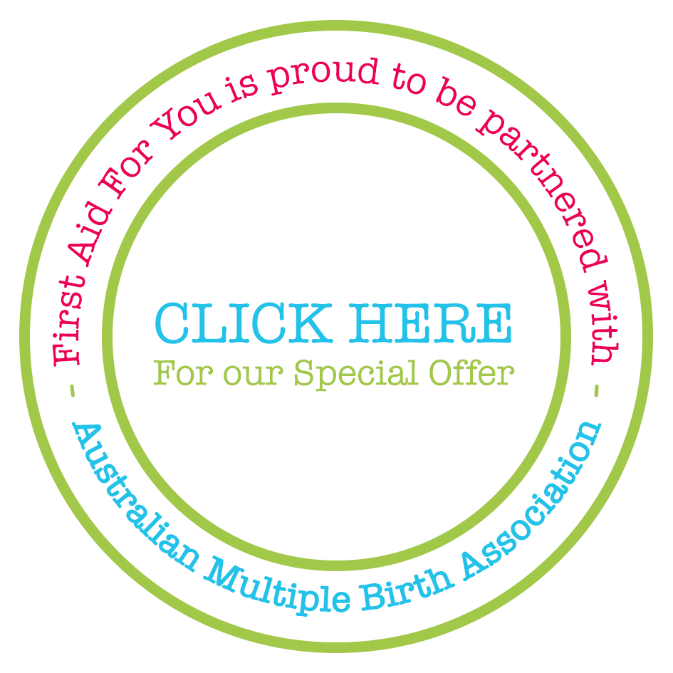 "Circle graphic ""First Aid For You is proud to be partnered with Australian Multiple Births Association - CLICK HERE for our special offer"
