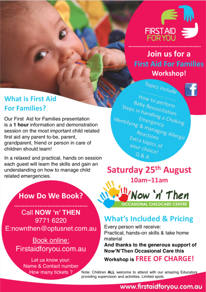 Image of Flyer for First Aid For You presentation - First Aid For Families
