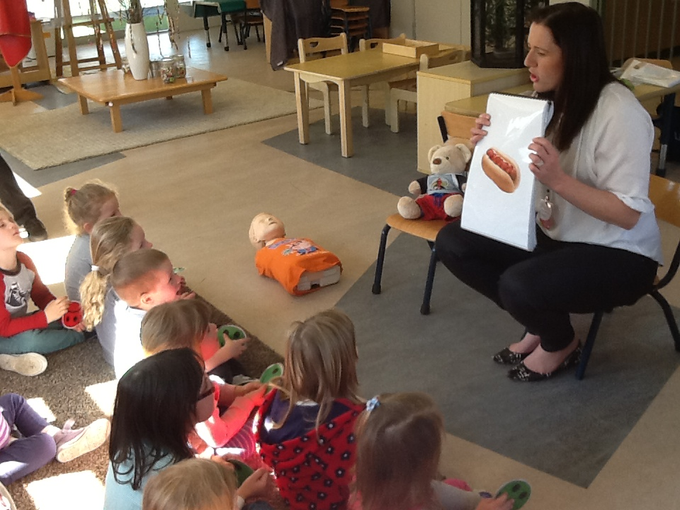 Image of Mary Dawes teaching First Aid For Kids to preschoolers