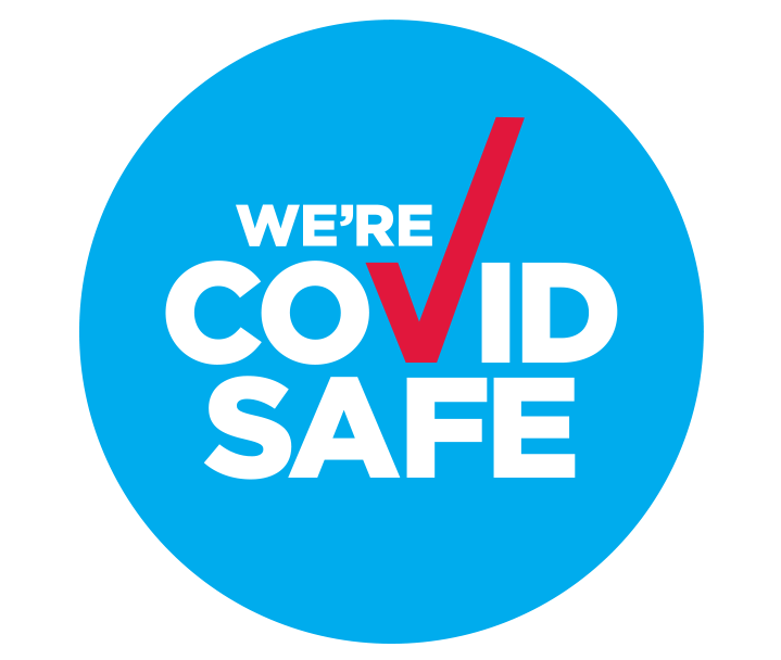 """We're COVID SAFE"" badge logo"